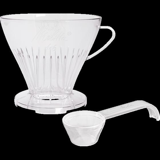 Kaffeefilter 1x6® transparent mit Kaffeedosierlöffel