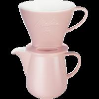 Kaffeefilter aus Porzellan 1x4® & Porzellankanne 0,6L Rosa