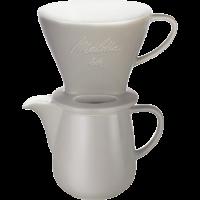 Kaffeefilter aus Porzellan 1x4® & Porzellankanne 0,6L Grau