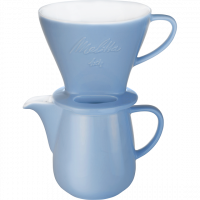 Kaffeefilter aus Porzellan 1x4® & Porzellankanne 0,6L Eisblau