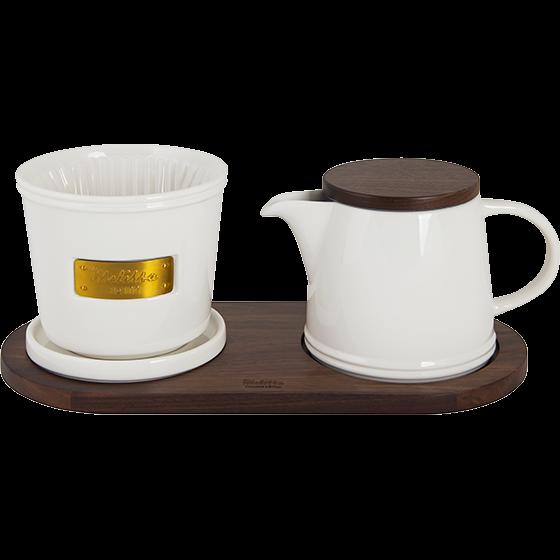 Melitta® Jubiläums Set – 102® Kaffeefilter aus Porzellan & Porzellankanne weiß-gold