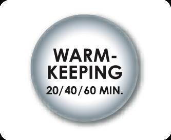 Benutzerfreundliche Warmhaltefunktion (20; 40 oder 60 Minuten)