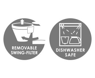 Schwenkfilter und Glaskanne sind spülmaschinengeeignet