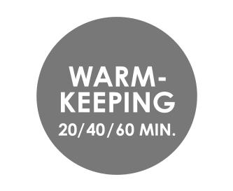 Programmierbare Warmhaltezeit (20; 40 oder 60 Minuten)