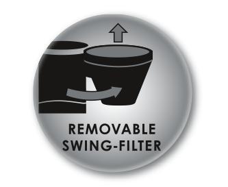 Schwenkfilter mit herausnehmbaren Filtereinsatz
