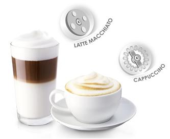 Per Knopfdruck Zubereitung von 2 Latte Macchiato oder 4 Cappuccini